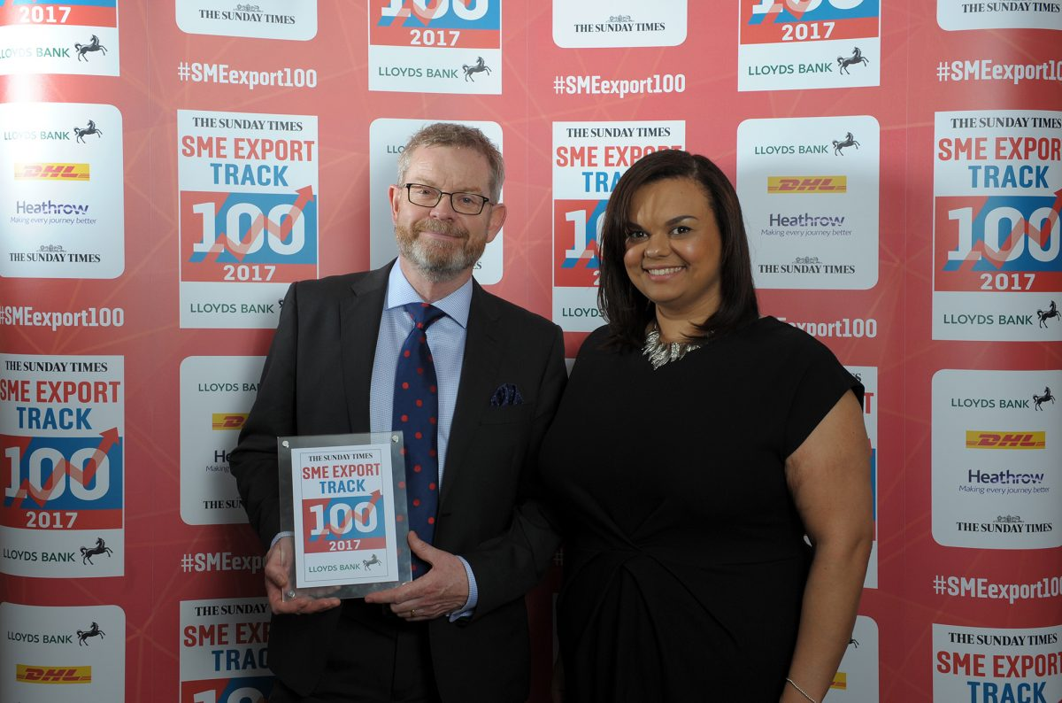 Paul Clewlow with Business Development Director Emily Eaton achieving success at the Fast Track SME Export Track 100 Awards